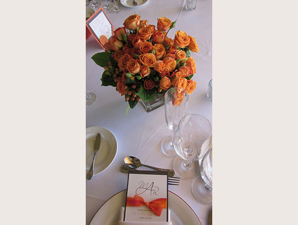 orange flower centerpiece